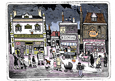 The High Street - Set of three hand coloured
